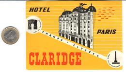 ETIQUETA DE HOTEL  - HOTEL PARIS CLARIDGE  -PARIS - Hotel Labels