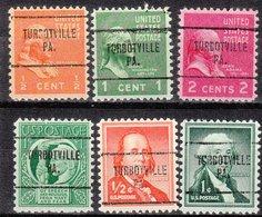 USA Precancel Vorausentwertung Preo, Locals Pennsylvania, Turbotville 704, 6 Diff. - Vorausentwertungen