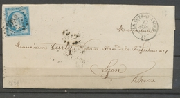 1858 Lettre N°14 Bleu Clair Obl PC970 LA COTE-ST-ANDRE ISERE(37) TB X3251 - 1849-1876: Période Classique