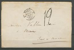 1861 Env. Taxe Tampon 12 CAD * PARIS * Superbe X3260 - Poststempel (Briefe)