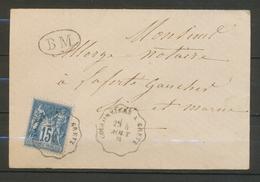 1881 Env. Obl Conv. Ligne Coulommiers à Gretz + BM Superbe X3265 - Marcophilie (Lettres)