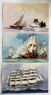 3 CPA Bateaux Voilier Goélette 5 Mats Béveziers Illustrateur Léon Haffner Peintre Marine Ligue Maritime Et Coloniale - Voiliers