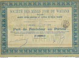 Mines D' Or Watana Siam Gold Mine Bonde Size 32 By 22 Cms . Not A Postcard. Set Of 2 Similar Bonds - Thaïlande