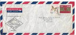 Sri Lanka Colombo Airmail Cover Butterflies, 1986 Centenary Of Ananda College Colombo, Tea Company  To Pakistan. - Sri Lanka (Ceylon) (1948-...)