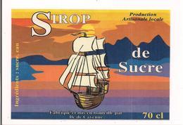 Etiquette  Sirop  De Sucre - Ile De Cayenne - GUYANE - Illustration Bateau - - Rhum