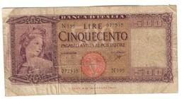 Italy 500 Lire 23/03/1961 - [ 2] 1946-… : Républic