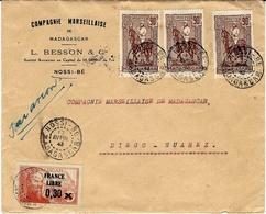 """1943 - Lettre De NOSSI-BE  """" Par Avion """" Affr. à 3 F  Pour Diego-Suarez  ( Sans Doute Les F A F L ) - Unclassified"""