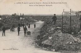 Militaria : LENS : ( Pas-de-calais )  : Ruines Du Boulevard Des écoles - Guerre 1914-18