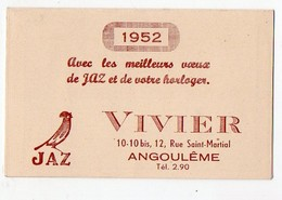 Angoulème (16 Charente) Calendrier 1952 VIVIER (horlogerie) (PPP12600) - Small : 1941-60