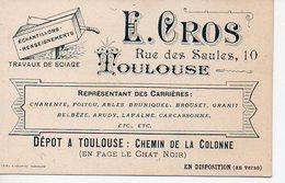 Toulouse (31 Haute Garonne) Carte Commerciale E GROS ( Travaux De Sciage / Carrières) (PPP12601) - Small : 1941-60