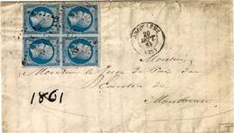 1861- DEVANT De Lettre D'Angoulème Cad T15  Affr. BLOC De 4 N°14 Type II ( Toutes Les Marges ) - 1849-1876: Klassieke Periode