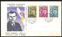 Albanie 1962 Yvertn° PA LP 57-59 FDC (o) Oblitéré  Cote Des Timbres 135 Euro Gagarine Et Vostok I Surchargé Rouge - Albanie
