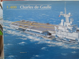 MAQ518 : Maquette Plastique à Monter HELLER 1/400e PORTE-AVIONS CHARLES DE GAULLE Complet Non Commencé Boite Un Peu Abim - Bâteaux