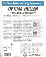 Leuchtturm - Feuilles OPTIMA 4 C (4 Bandes) (10) - Fond Transparent - For Stockbook