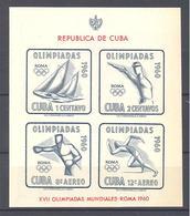 Cuba: Yvert N°BF 17**; Jeux Olympiques De Rome; Voile; Tir; Escrime; Course à Pied - Blocks & Kleinbögen
