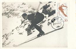 D33794 CARTE MAXIMUM CARD 1961 ROMANIA - SKIING CP PHOTOCARD - Skiing