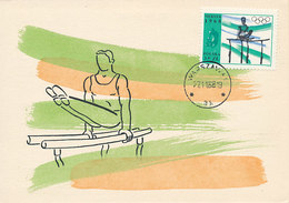 D33796 CARTE MAXIMUM CARD 1968 POLAND - PARALLEL BARS GYMNASTICS OLYMPICS MEXICO CP ORIGINAL - Gymnastik