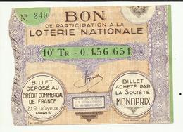 03  . MONTLUCON - MONOPRIX BON DE PARTICIPATION A La LOTERIE NATIONALE  .10° TIRAGE  N° 0.156 651 .  VOIR DOS - Lottery Tickets