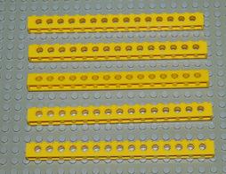 Légo Lot 5 X Brique Technic Ref 3703 1x16 Jaune With Holes - Lego Technic