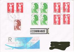 """France - (R) """"Liberté"""" & """"Marianne Du Bicentenaire (Briat)"""" - Charleville-Mezieres Le 05 Février 90 - Marcophilie (Lettres)"""