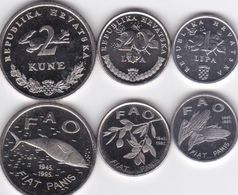 Croatia - Set 3 Coins 1 20 Lipa 2 Kuna 1995 UNC Ukr-OP - Kroatië