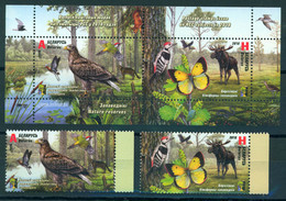 TH_ Belarus 2018 RCC Sanctuaries Birds Butterfly Moose Fauna Bl + 2v MNH - Oiseaux