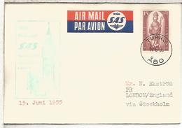 FINLANDIA TURKU 1955 PRIMER VUELO SAS STOCKOLM LONDON BIG BEN RELOJ CLOCK BELL - Airmail