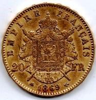 Très Belle 20 Francs Or Napoléon III 1869 BB - Or