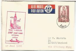 FINLANDIA TURKU 1955 PRIMER VUELO SAS GOTEBORGLONDON BIG BEN RELOJ CLOCK BELL - Airmail