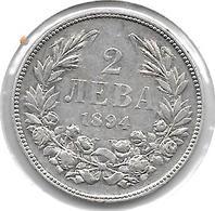 *Bulgaria 2 Leva  1894   Km 7  Vf+ - Bulgaria