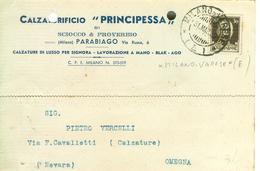 "CALZATURIFICIO ""PRINCIPESSA"",PARABIAGO (MILANO),CARTOLINA COMMERCIALE,1939,TIMBRO POSTE  AMB. MILANO-VARESE (E),OMEGNA - Milano"