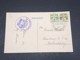 DANEMARK - Affranchissement Surchargé Tenant à Non Surchargé Sur Carte Postale Exposition En 1938 - L 17302 - 1913-47 (Christian X)
