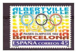 SPAGNA -1992 - ALBERTVILLE E BARCELLONA SEDI OLIMPICHE. 1 VALORE. MNH** - 1931-Tegenwoordig: 2de Rep. - ...Juan Carlos I