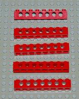 Légo Technic 5 X Rouge 1x8 Ref 3702 - Lego Technic