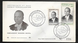Mali FDC Lettre Illustrée 1er Jour Bamako Le 18/03/1961 N° 14 Et PA N°10  Président Modibo Keita  B/TB - Mali (1959-...)