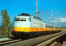 AK Eisenbahn Deutschland Lufthansa-Airport-Expreß Stuttgart-Mannheim DB E-Lok 103 101-2 1991 BZA München/Henschel/SSW - Eisenbahnen