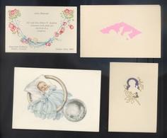 Quatre Beaux Faire Part De Naissance Anciens (1927, 1952, 1956, 1957) - Dont Trois Gauffrés - TB ***** - Birth & Baptism