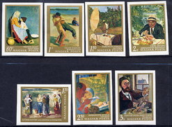 HUNGARY 1967 20th Century Paintings Imperforate Set MNH / **.  Michel 2370-76B - Hungary