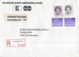 Nederland - Aangetekend/Recommandé Brief Vertrek Appingedam - Aantekenstrookje Appingedam 10160 - Marcophilie