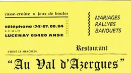 Carte De Visite Restaurant Au Val D'Azergues, Lucenay, Anse (vers 1970) - Visiting Cards