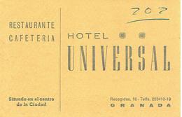 Carte De Visite Restaurante Cafeteria Hotel Universal, Recogidas, Granada (Grenade) (vers 1970) - Visiting Cards