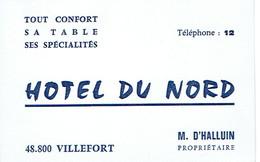 Carte De Visite Hôtel Du Nord, M. D'Halluin Propriétaire, Villefort (vers 1970) - Cartes De Visite