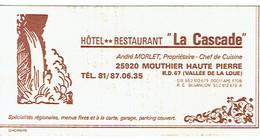 Carte De Visite Hôtel Restaurant La Cascade, André Morlet Propriétaire, Mouthier Haute Pierre (années 1970) - Visiting Cards