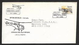 Portugal Poste Par Hélicoptère Vol Lisbonne Porto Journée Du Timbre 1979 Helicopter Mailed Cover Lisbon Oporto Stamp Day - Poste Aérienne