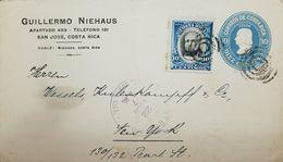 A) 1908 USA, NEW YORK CITY, SAN JOSE, 10C BLUE PRIVATE PRINT G, NIEHAUS STAT ENV, ADT SCARCE. - Brieven En Documenten