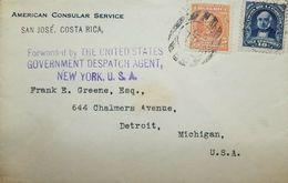 A) 1910 US CONSULATE, SAN JOSE - USA, FKD ENV + SPECIAL CACHETS - Brieven En Documenten
