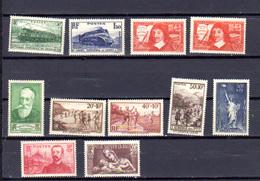 1937    France, Locomotives, Descartes, Sports, Etc, Entre 339 Et 356**, Cote 74 €, - France