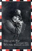 """Militaria Original Foto Humor-Karte """"Wenn Wir Den Feind Bezwungen Kühn..."""" Als Feldpost Grl. 25.1.1918 - Humour"""