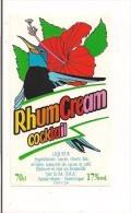 Etiquette  Rhum  Cream Cocktail   70 Cl  SA DRA ( St James)  -  Ste Marie -  MARTINIQUE - Illustr. Colibri Et Hibiscus - Rhum