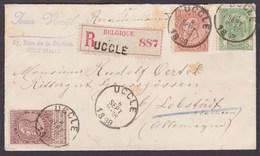 Fine Barbe - N°56, 57 Et 61 Sur Lettre En Recommandé De Uccle 8/9/1898 Vers Lobstädt(Allemagne) - 1893-1800 Fijne Baard
